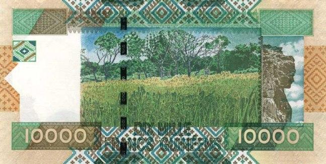 Гвинейский франк. Купюра номиналом в 10000 GNF, реверс (обратная сторона).