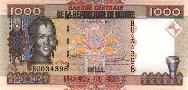 Гвинейский франк. Купюра номиналом в 1000 GNF, аверс (лицевая сторона).