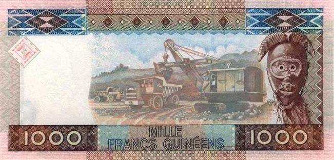Гвинейский франк. Купюра номиналом в 1000 GNF, реверс (обратная сторона).