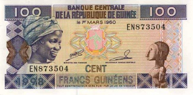 Гвинейский франк. Купюра номиналом в 100 GNF, аверс (лицевая сторона).
