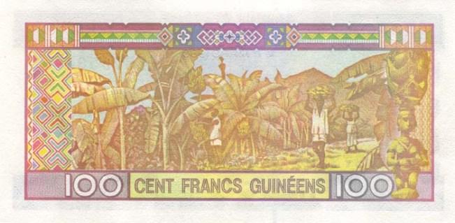 Гвинейский франк. Купюра номиналом в 100 GNF, реверс (обратная сторона).