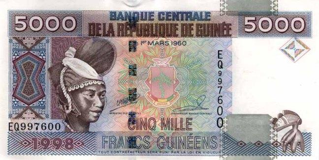 Гвинейский франк. Купюра номиналом в 5000 GNF, аверс (лицевая сторона).