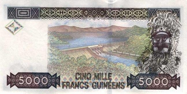 Гвинейский франк. Купюра номиналом в 5000 GNF, реверс (обратная сторона).