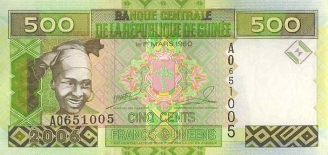 Гвинейский франк. Купюра номиналом в 500 GNF, аверс (лицевая сторона).