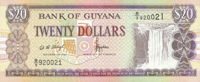 Гайанский доллар. Купюра номиналом в 20 GYD, аверс (лицевая сторона).