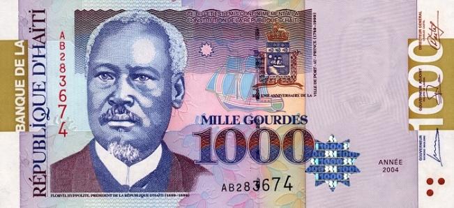 Гаитянский гурд. Купюра номиналом в 1000 HTG, аверс (лицевая сторона).