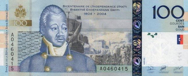 Гаитянский гурд. Купюра номиналом в 100 HTG, аверс (лицевая сторона).