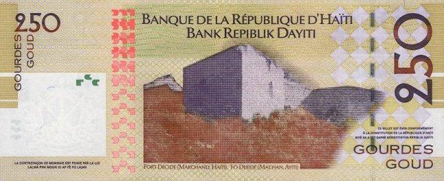 Гаитянский гурд. Купюра номиналом в 250 HTG, реверс (обратная сторона).