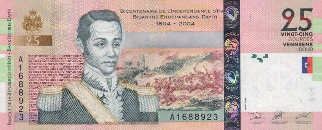 Гаитянский гурд. Купюра номиналом в 25 HTG, аверс (лицевая сторона).