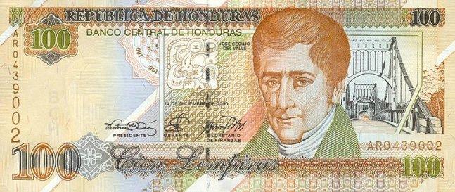 Гондурасская лемпира. Купюра номиналом в 100 HNL, аверс (лицевая сторона).