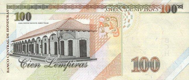 Гондурасская лемпира. Купюра номиналом в 100 HNL, реверс (обратная сторона).