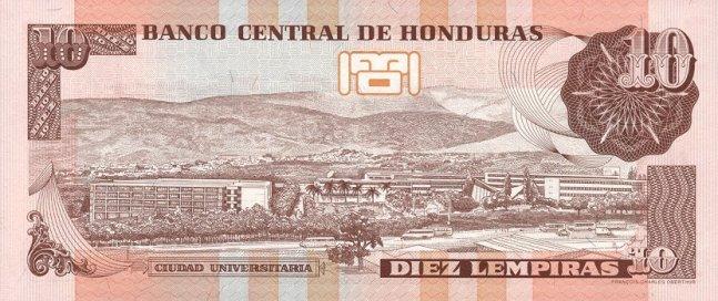 Гондурасская лемпира. Купюра номиналом в 10 HNL, реверс (обратная сторона).