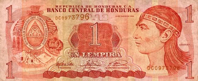 Гондурасская лемпира. Купюра номиналом в 1 HNL, аверс (лицевая сторона).