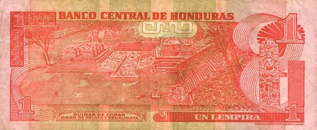 Гондурасская лемпира. Купюра номиналом в 1 HNL, реверс (обратная сторона).