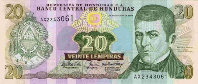 Гондурасская лемпира. Купюра номиналом в 20 HNL, аверс (лицевая сторона).