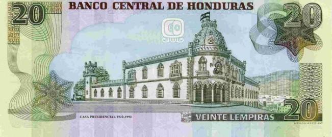 Гондурасская лемпира. Купюра номиналом в 20 HNL, реверс (обратная сторона).