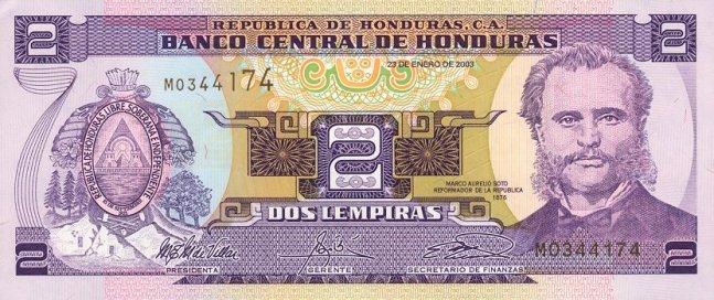 Гондурасская лемпира. Купюра номиналом в 2 HNL, аверс (лицевая сторона).