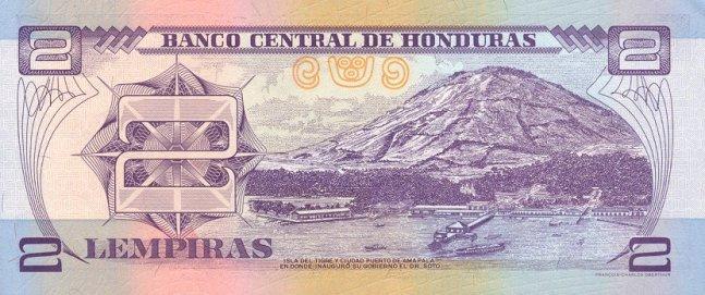 Гондурасская лемпира. Купюра номиналом в 2 HNL, реверс (обратная сторона).