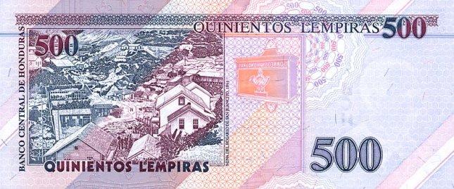 Гондурасская лемпира. Купюра номиналом в 500 HNL, реверс (обратная сторона).