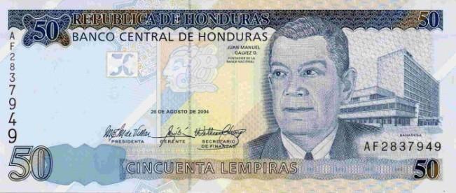 Гондурасская лемпира. Купюра номиналом в 50 HNL, аверс (лицевая сторона).