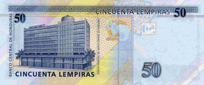 Гондурасская лемпира. Купюра номиналом в 50 HNL, реверс (обратная сторона).