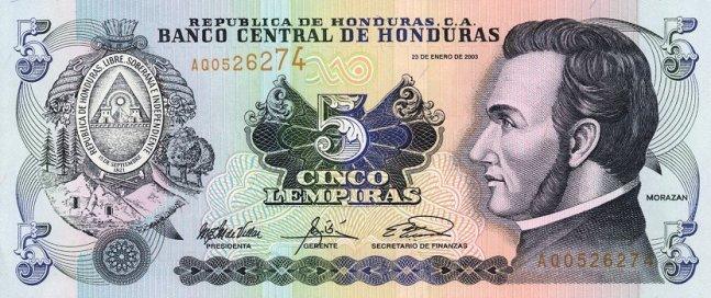 Гондурасская лемпира. Купюра номиналом в 5 HNL, аверс (лицевая сторона).
