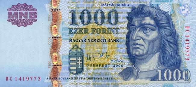 Венгерский форинт. Купюра номиналом в 1000 HUF, аверс (лицевая сторона).