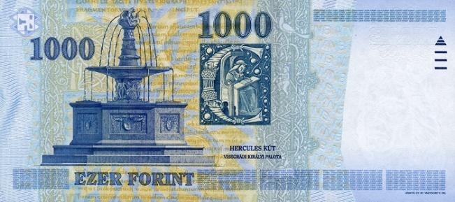 Венгерский форинт. Купюра номиналом в 1000 HUF, реверс (обратная сторона).