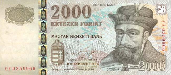 Венгерский форинт. Купюра номиналом в 2000 HUF, аверс (лицевая сторона).
