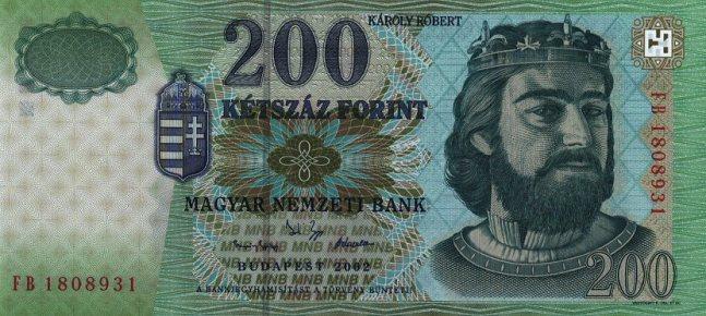 Венгерский форинт. Купюра номиналом в 200 HUF, аверс (лицевая сторона).