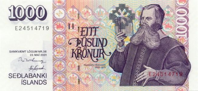 Исландская крона. Купюра номиналом в 1000 ISK, аверс (лицевая сторона).