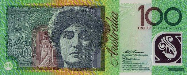 Австралийский доллар. Купюра номиналом в 100 AUD, аверс (лицевая сторона).