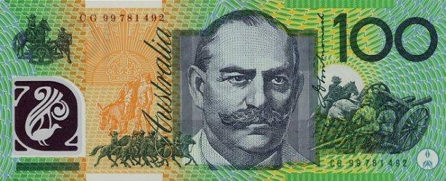 Австралийский доллар. Купюра номиналом в 100 AUD, реверс (обратная сторона).