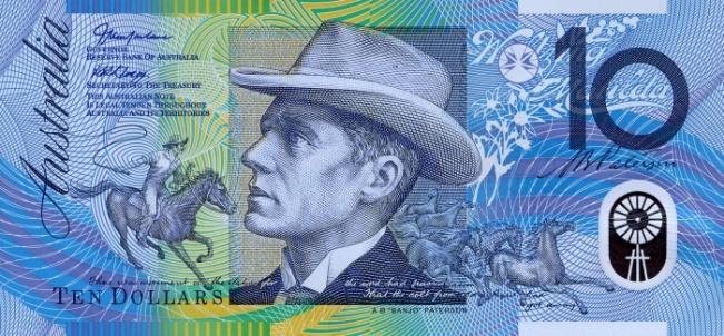 Австралийский доллар. Купюра номиналом в 10 AUD, аверс (лицевая сторона).