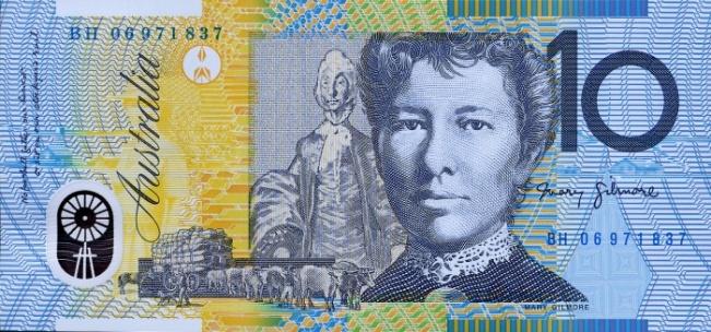 Австралийский доллар. Купюра номиналом в 10 AUD, реверс (обратная сторона).