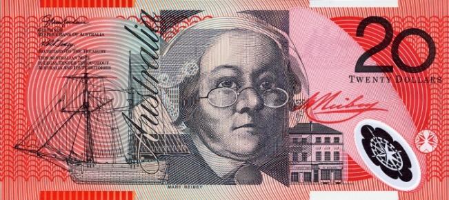 Австралийский доллар. Купюра номиналом в 20 AUD, аверс (лицевая сторона).