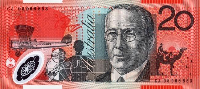 Австралийский доллар. Купюра номиналом в 20 AUD, реверс (обратная сторона).