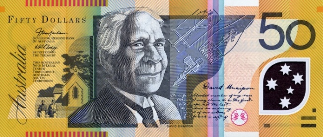 Австралийский доллар. Купюра номиналом в 50 AUD, аверс (лицевая сторона).