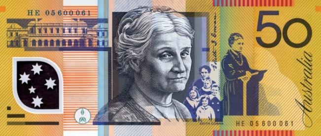 Австралийский доллар. Купюра номиналом в 50 AUD, реверс (обратная сторона).
