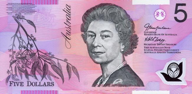 Австралийский доллар. Купюра номиналом в 5 AUD, аверс (лицевая сторона).