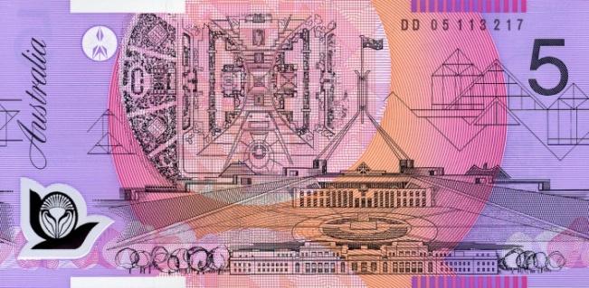 Австралийский доллар. Купюра номиналом в 5 AUD, реверс (обратная сторона).
