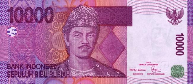 Индонезийская рупия. Купюра номиналом в 10000 IDR, аверс (лицевая сторона).