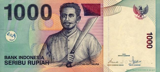 Индонезийская рупия. Купюра номиналом в 1000 IDR, аверс (лицевая сторона).