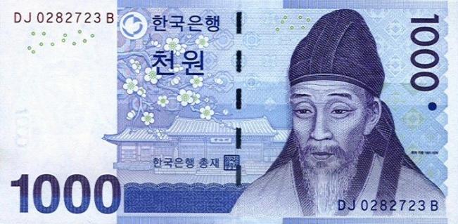 Вона Республики Корея. Купюра номиналом в 1000 KRW, аверс (лицевая сторона).