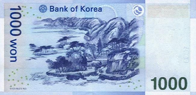 Вона Республики Корея. Купюра номиналом в 1000 KRW, реверс (обратная сторона).