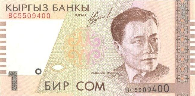 Киргизский сом. Купюра номиналом в 1 KGS, аверс (лицевая сторона).