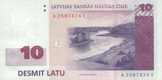 Лавтийски лат. Купюра номиналом в 10 LVL, аверс (лицевая сторона).