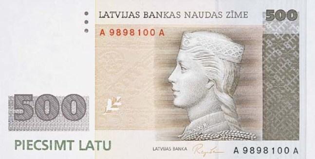 Лавтийски лат. Купюра номиналом в 500 LVL, аверс (лицевая сторона).
