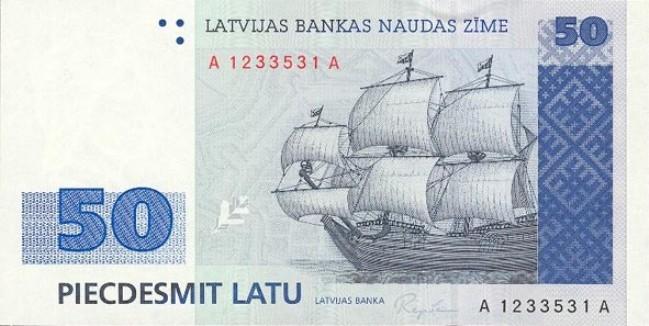 Лавтийски лат. Купюра номиналом в 50 LVL, аверс (лицевая сторона).