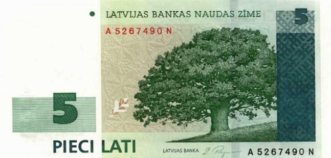 Лавтийски лат. Купюра номиналом в 5 LVL, аверс (лицевая сторона).
